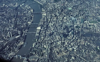 The City of London (Financial District) and the Thames from above